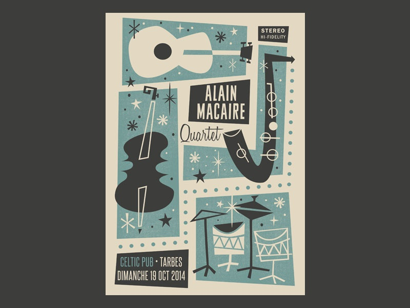 Alain Macaire 4tet gigposter mid century mid century modern tarbes poster illustration gigposter gig jazz