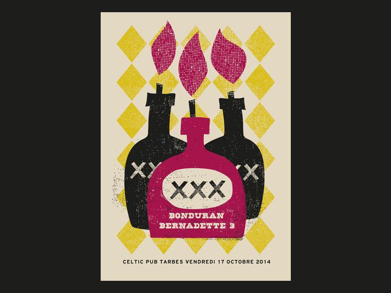 Bonduran x Bernadette 3 poster gig gig poster illustration rock tarbes