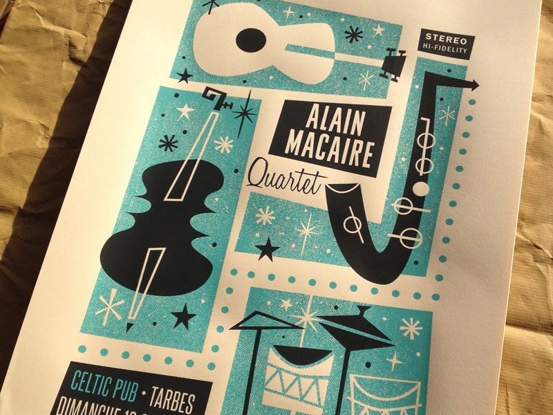 Alain Macaire 4tet screenprint silkscreen poster print jazz illustration handpulled gigposter tarbes