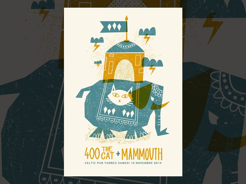 400 the cat • Mammouth gigposter gig poster illustration tarbes