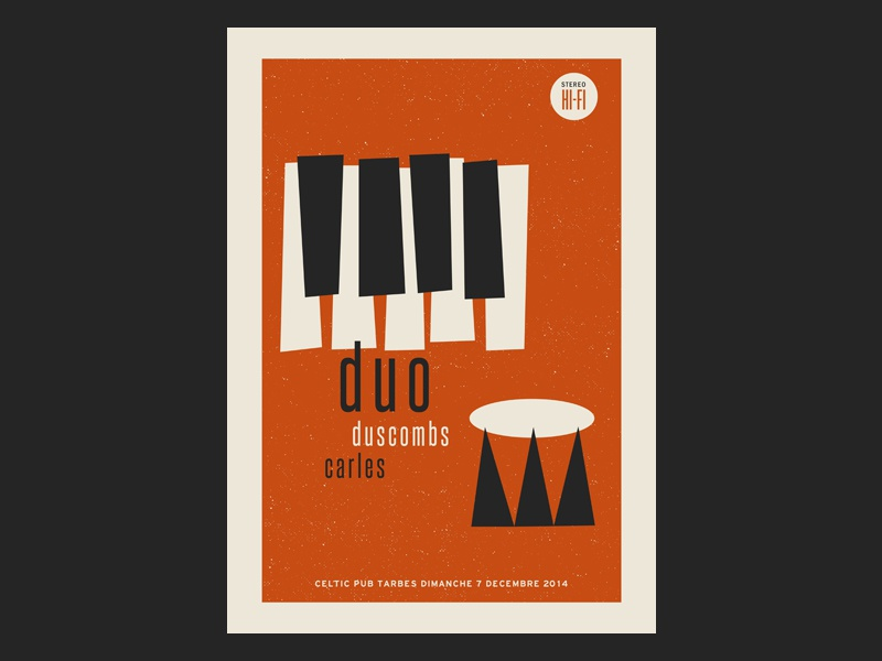 duo Duscombs / Carle gig poster print illustration gig poster screenprint poster gig jazz tarbes