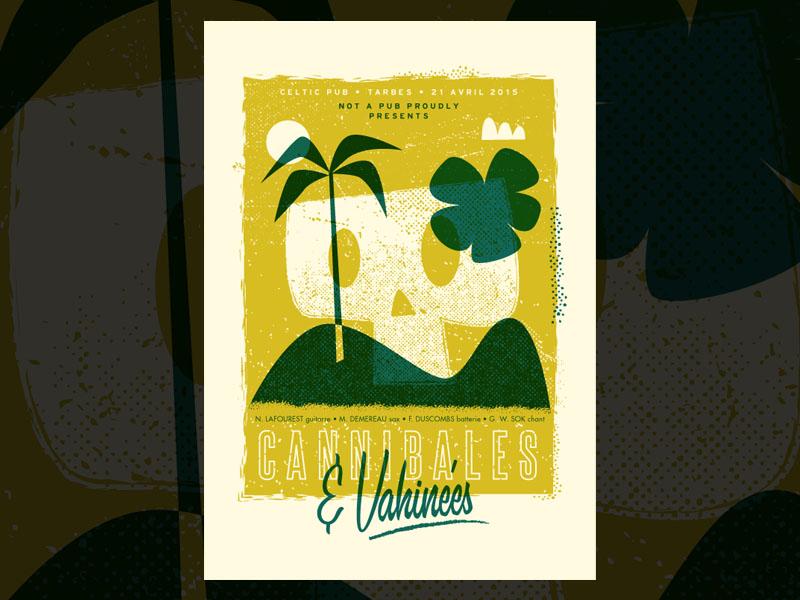 Cannibales & Vahinées gigposter screenprint music tarbes poster illustration alternative rock print silkscreen
