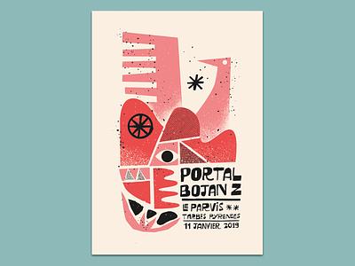 Portal & Bojan Z jazz print gigposter silkscreen screenprint poster illustration