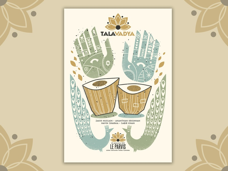 Zakir Hussain gigposter poster music print gigposter silkscreen screenprint illustration