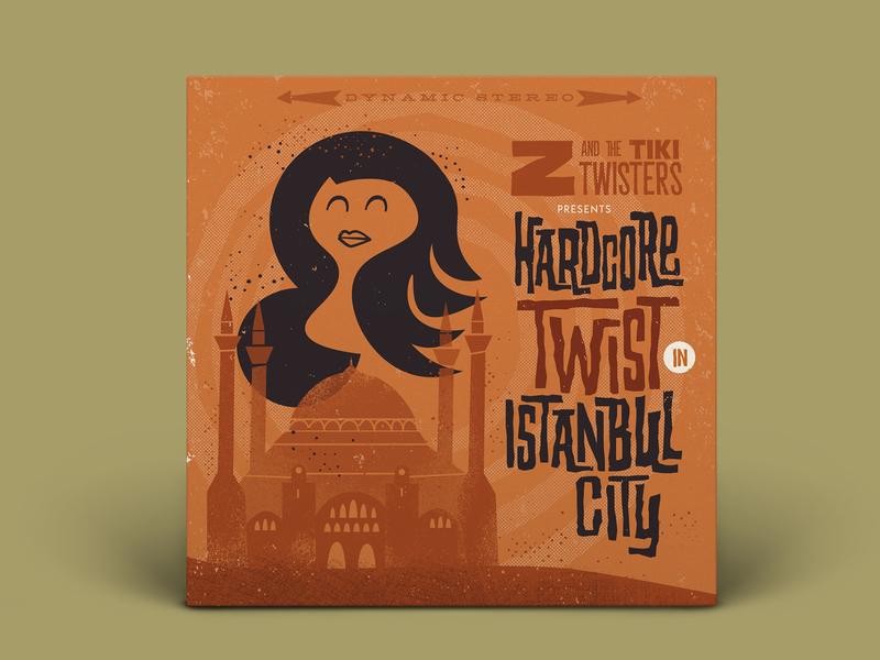 Z & the Tiki Twisters lettering album cover art album artwork music print illustration