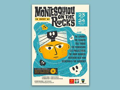 Hoodoo man & skulls skull vintage rock musicfestival poster illustration