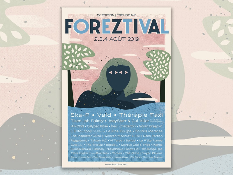 Foreztival festival music print poster illustration
