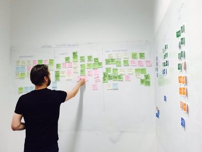 Problems and Post-its whiteboard notes post it ux design sprint