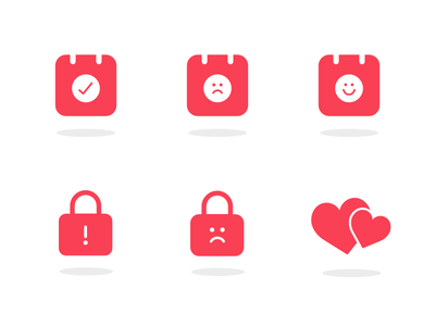 Filling the Emptiness ux ui android ios heart lock calendar illustration icons empty state
