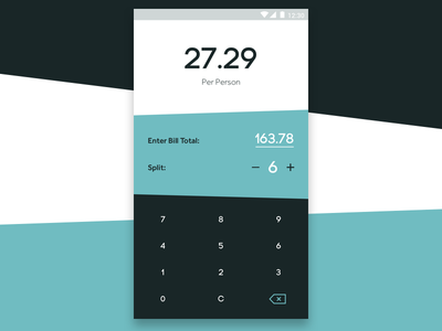 004 - Calculator splitter bill numbers keypad calculator ui dailyui