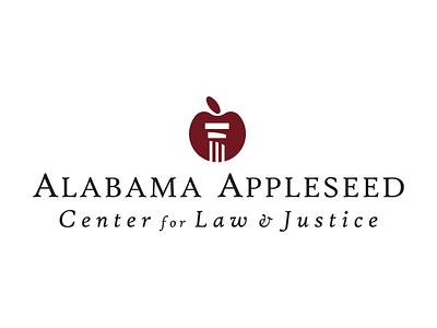 Alabama Appleseed concept serif type column apple logo design lawyer attorney justice law appleseed alabama