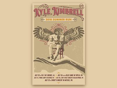Kyle Kimbrell Gig Poster 2018 tour hand bird typography owl musician music gig poster kyle kimbrell