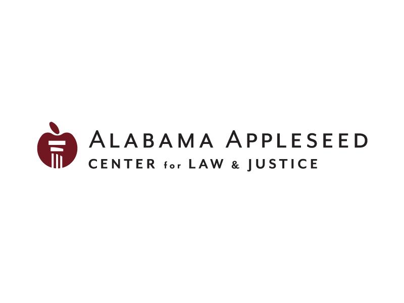 Alabama Appleseed Center for Law & Justice final sans serif type column apple logo design lawyer attorney justice law appleseed alabama