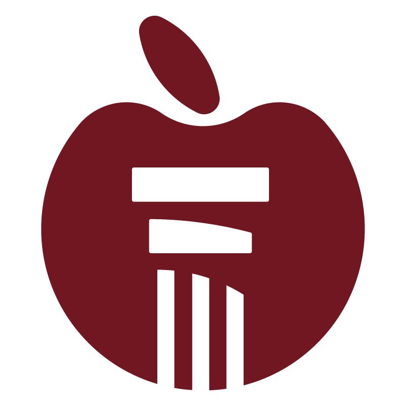 Alabama appleseed logo apple only red