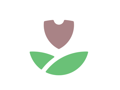 Tulip plant leaves sun lawn landscape spade shovel shield tulip flower icon identity logo design wip logo