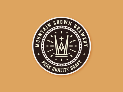 Mountain Crown Brewery Coaster alcohol beer sticker mule coaster badge crown mountain brewery logo brewery icon identity logo