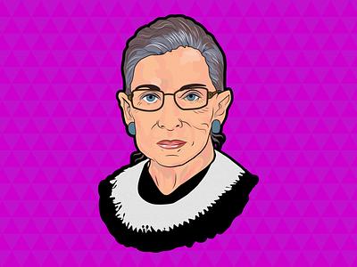 Ruth Bader Ginsburg scotus politics drawing vector illustration women empowerment ruth bader ginsburg