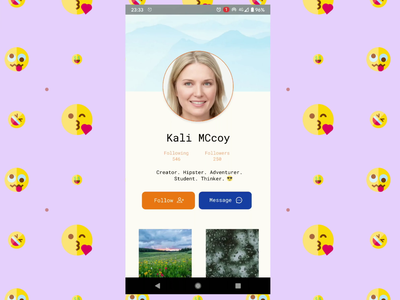 Profile page - Daily UI Challenge 006 design dailyui006 socialmedia profile prototype figma video gif mobile animation beginners ui design dailyuichallenge dailyui beginner