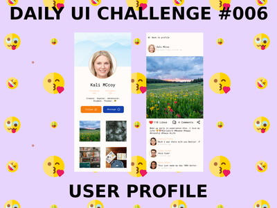 USER PROFILE - DAILY UI CHALLENGE 006 ui figma profile social media design beginners ui design mobile dailyuichallenge dailyui beginner