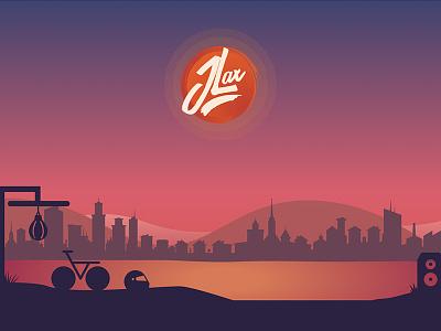 New Portfolio Website gradient portfolio sunset parallax horizon city hills icons portfolio website flat design