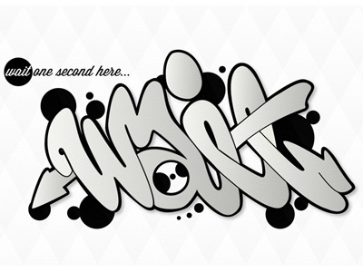 wait one second here... graffiti graff handstyle type text typography black and white arrow urban cursive simple simplistic dots pattern style flow
