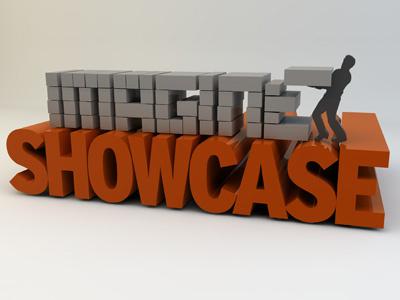 Imagine Showcase 3d cinema 4d 3d text typography type orange glossy text extrude building build blocks design