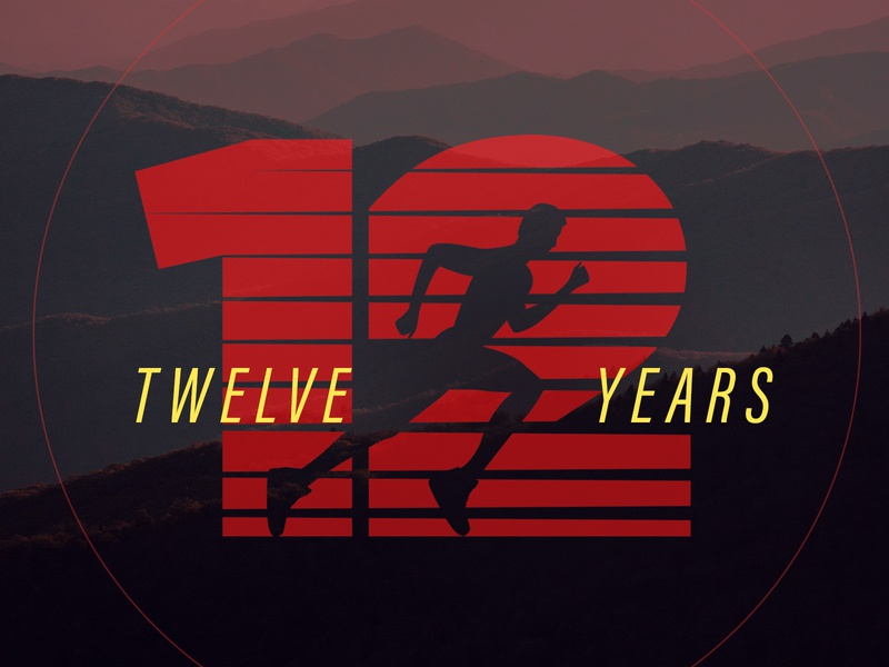 Twelve Years Logo typogaphy strike run logo