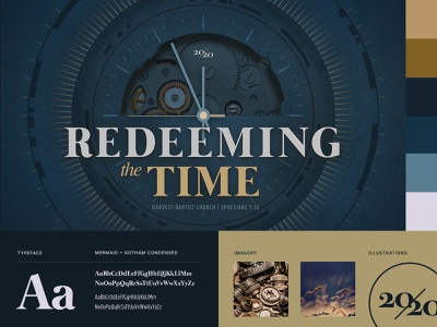 Redeeming the Time Branding typography illustrations church brand clock typeface color branding theme