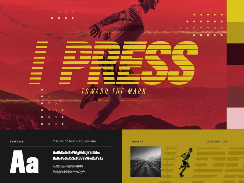 I Press Branding typography runner run running yellow church branding design branding theme