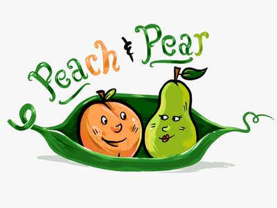 Two peas in a pod handcrafted peas pear peach cartoon retro
