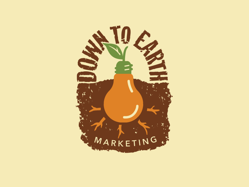 Down To Earth Marketing brand logo growing concepts earth light bulb idea