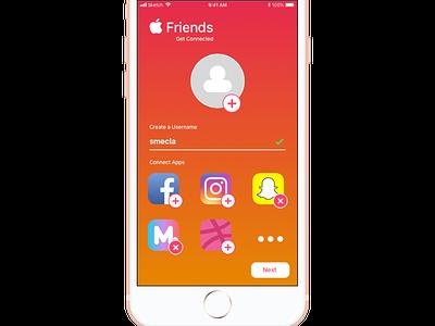 Sign Up - Apple Friends logo flat ux ui simple app iphone ios red orange friends sign up dailyui 001 dailyui