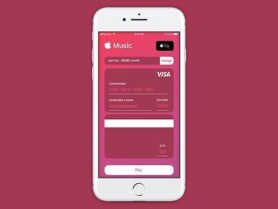 Credit Card Checkout - Apple Music credit card payment credit card form credit card branding dailyui 002 dailyui apple pink red logo flat dark ux musicapp music ui iphone ios app simple