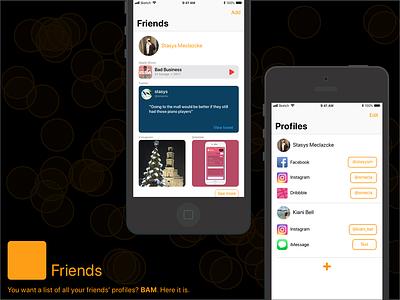 Apple Friends dailyui 003 dailyui flat dark friends music ios iphone ux orange app design simple