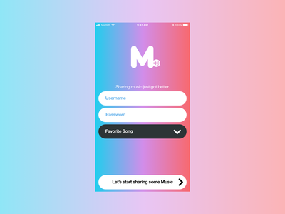 Sign up - Meusic sign up apple purple red flat musicapp music blue iphone ios app design simple