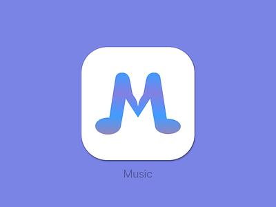 Music App Icon apple purple icon app dailyui 005 dailyui icon musicapp music blue iphone ios app design simple