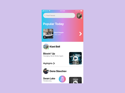 User Profile - Meusic branding pink flat apple red purple dailyui 006 dailyui musicapp blue music ux ui iphone ios app design simple