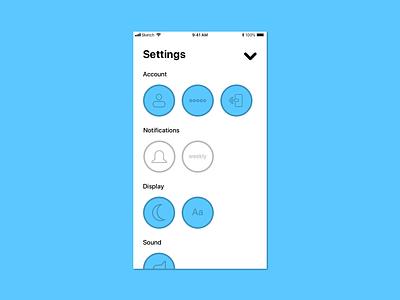 Settings settings ux ui flat blue iphone ios app design simple dailyui 007 dailyui