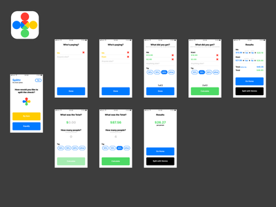 General Assembly - Check Splitting App apple flat ui ux red yellow green blue iphone ios app design simple