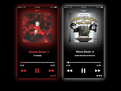 Music Player apple musicapp flat dark dailyui 009 dailyui ux ui music white red iphone ios app design simple