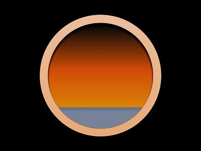 Window window blue yellow orange gold black illustration sunrise sunset sea design simple