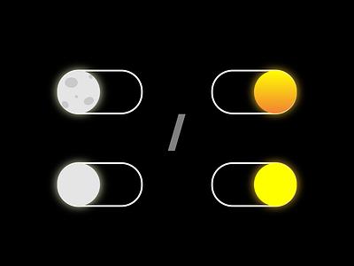 On / Off Switch flat dailyui 015 dailyui dark mode night mode on off switch orange yellow grey white sun moon ux ui design simple