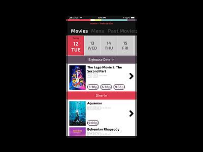 Movie Theatre flat purple red movie theater movie ux ui iphone ios app design simple