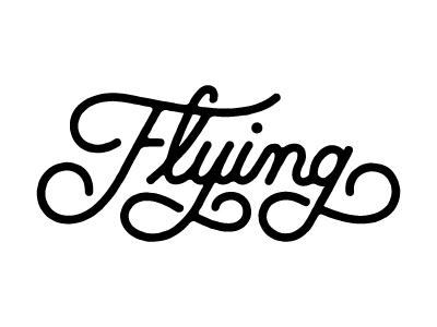 Flying logotype script custom type flying