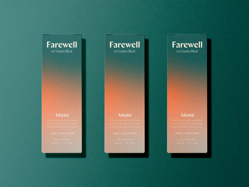 Farewell CBD typography cbd gradient design branding packaging