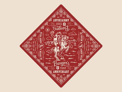 The Lone Sausage Ranger™ texture illustration anniversary beer sausage bandana