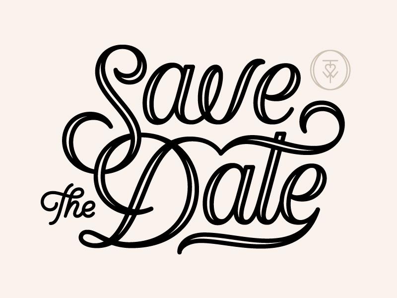 Save The Dates monogram script linework custom type wedding typography save the date