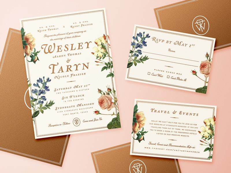 Wedding Invitations swash monogram type flower floral invites invitations wedding