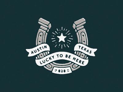 Lucky To Be Here illustration texture horseshoe banner texas austin star bandana