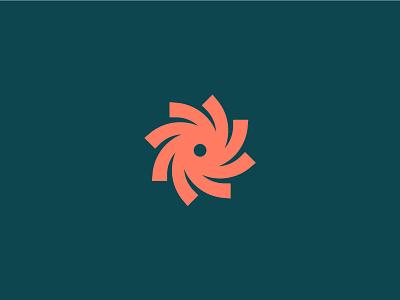 Pinwheeling flower spiral pinwheel logo